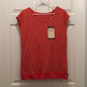 NWT Toad & Co Women's Striped Orange T-Shirt Large
